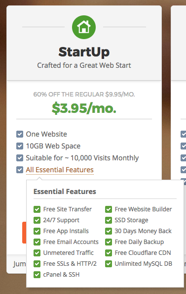 Screenshot showing the Siteground basic pricing structure